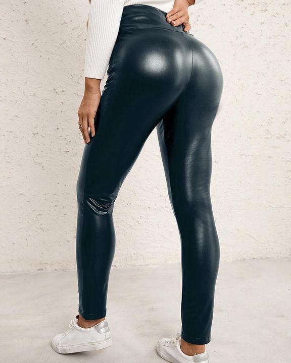 High Waist Butt Lifting PU Pants gallery 9