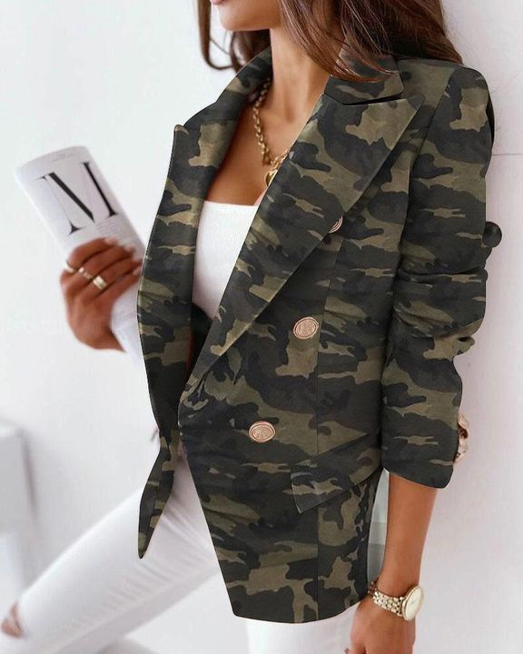 Allover Print Double Breasted Lapel Neck Blazer gallery 3