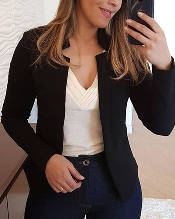 Solid Open Front Form Fitting Blazer gallery 2