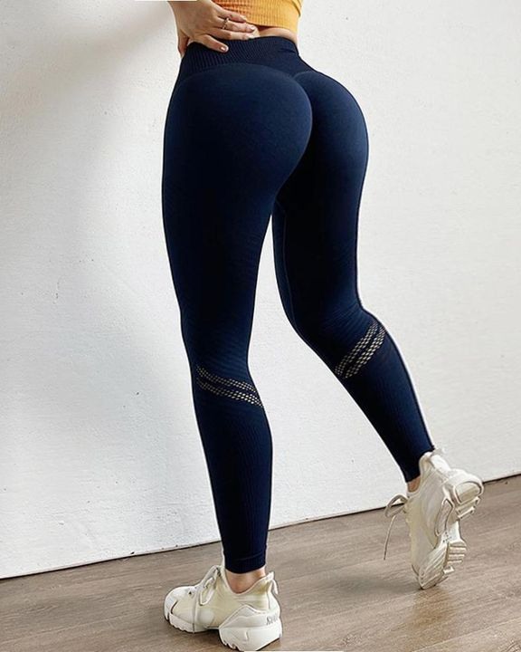 Hollow Out Ribbed Seamless Wide Waistband Sports Leggings gallery 18