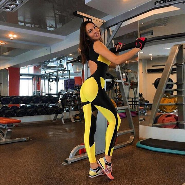 Color Block Mesh Patchwork Fitness Jumpsuit gallery 6