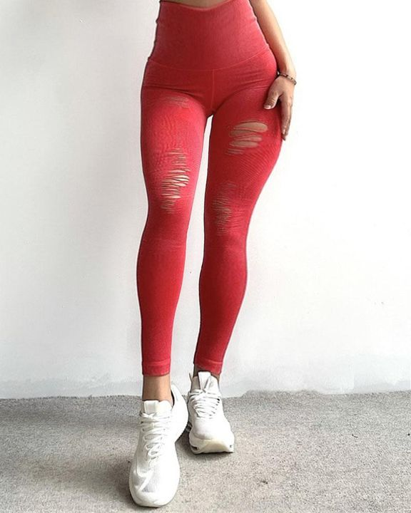 Denim Look Ripped Wide Waistband Sports Leggings gallery 4