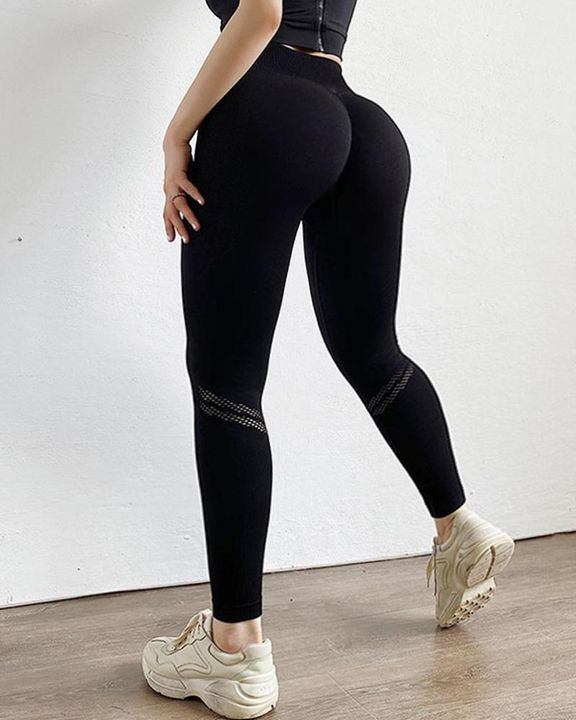 Hollow Out Ribbed Seamless Wide Waistband Sports Leggings gallery 9