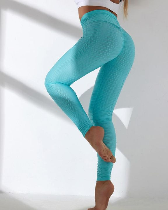 Solid Textured Wide Waistband Sports Leggings gallery 14