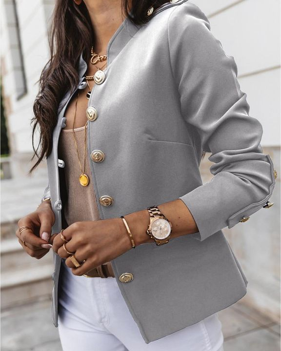 Button Up Front Pocket Detail Tailored Jacket gallery 17