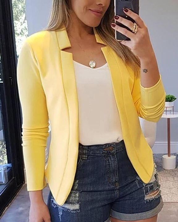 Solid Open Front Form Fitting Blazer gallery 3