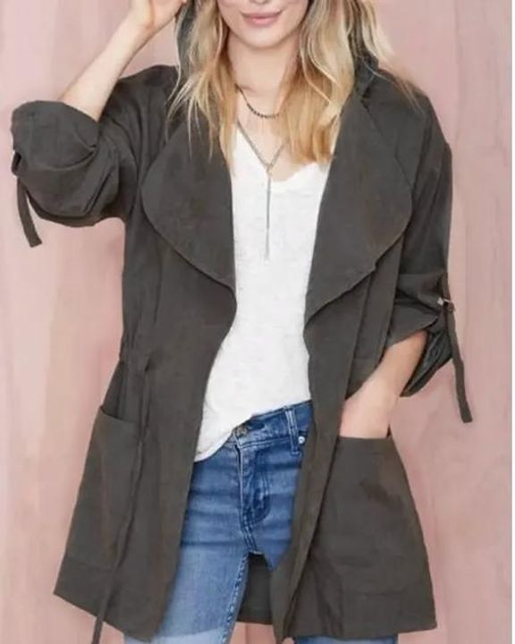 Solid Drawstring Waist Dual Pocket Front Hooded Coat gallery 3