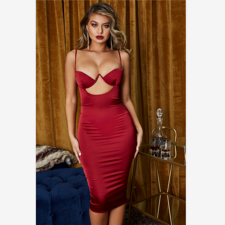 Satin Cut Out Front Cup Detail Midi Dress gallery 7
