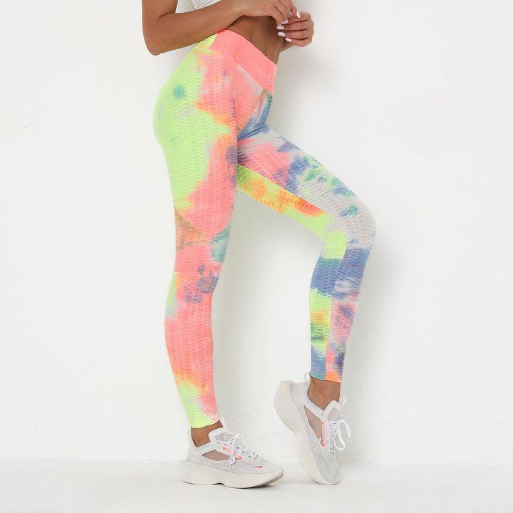Watercolor Tie Dye Textured Butt Lifting Ruched Leggings gallery 6