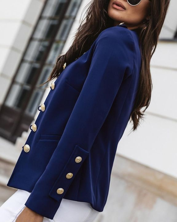 Button Up Front Pocket Detail Tailored Jacket gallery 12