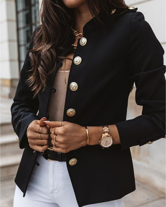 Button Up Front Pocket Detail Tailored Jacket gallery 7