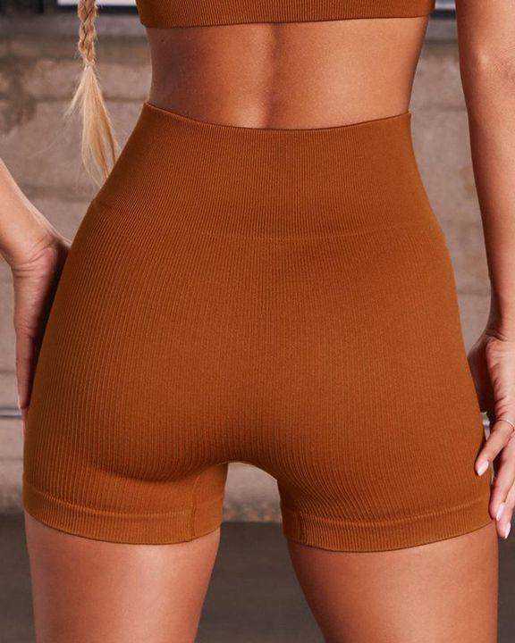Rib-knit High Waist Butt Lifting Seamless Sports Shorts  gallery 12