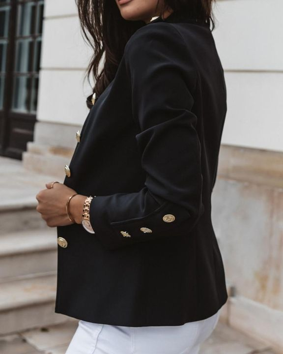 Button Up Front Pocket Detail Tailored Jacket gallery 9