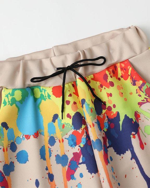 Graffiti Print Drawstring Waist Crop Top & Pants Set gallery 16