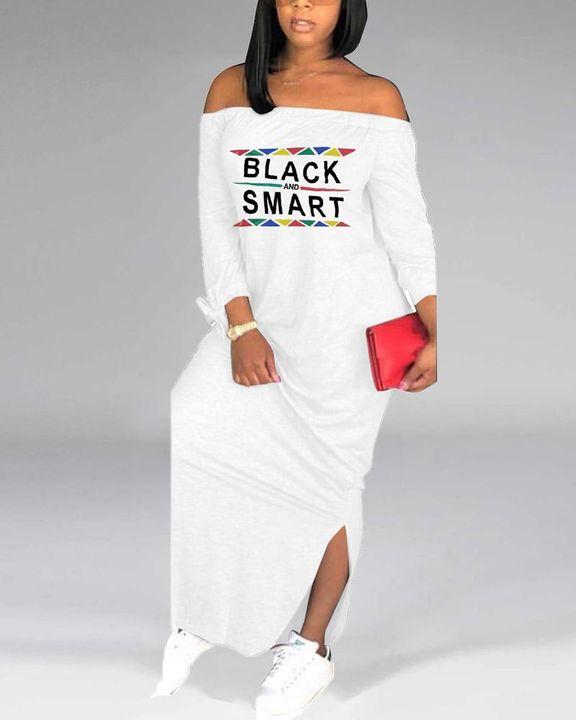 Letter Print Off Shoulder Split Hem Maxi Dress gallery 9