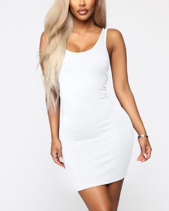 Plain Thick Strap Bodycon Mini Dress gallery 3