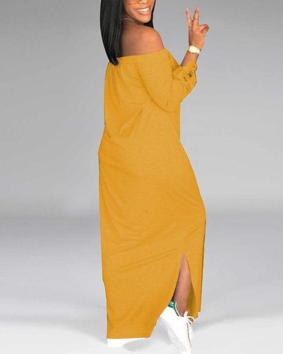 Letter Print Off Shoulder Split Hem Maxi Dress gallery 11