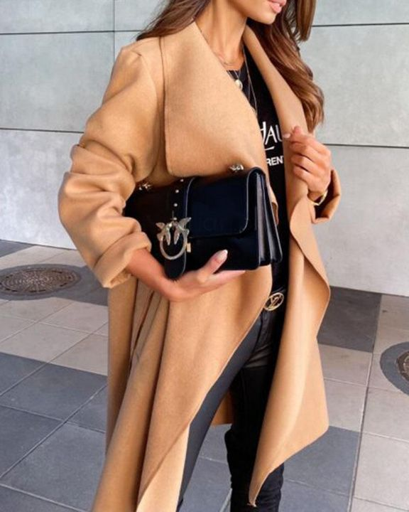Solid Belted Pocket Detail Waterfall Coat gallery 6