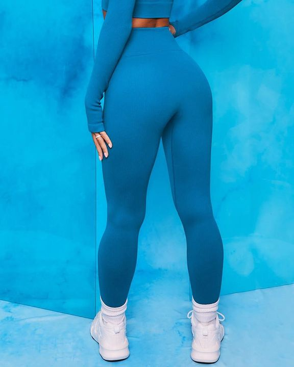 Ribbed Knit Seamless Breathable Butt Lifting Sports Leggings gallery 2