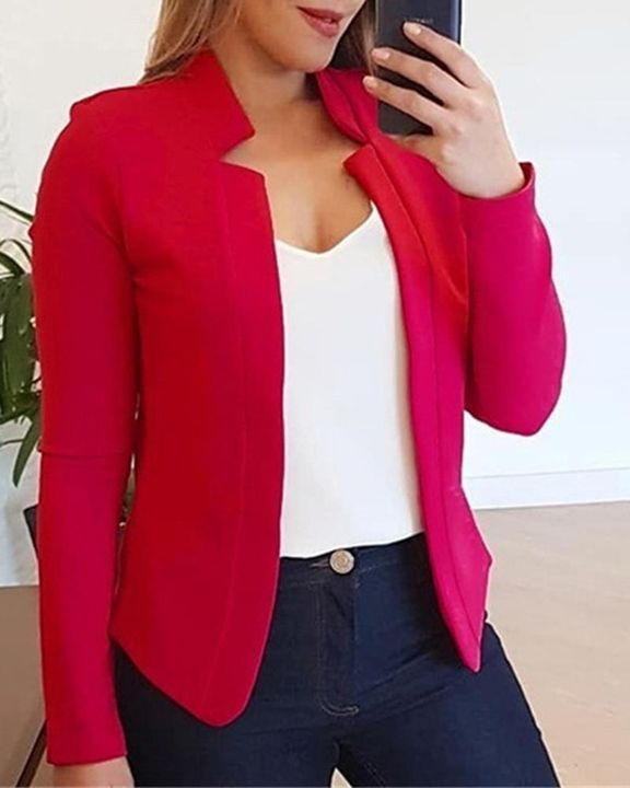Solid Open Front Form Fitting Blazer gallery 1