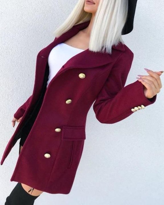 Solid Double Breasted Pocket Detail Coat gallery 9