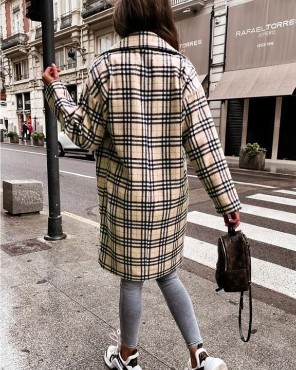 Plaid Print Double Breasted Coat gallery 10