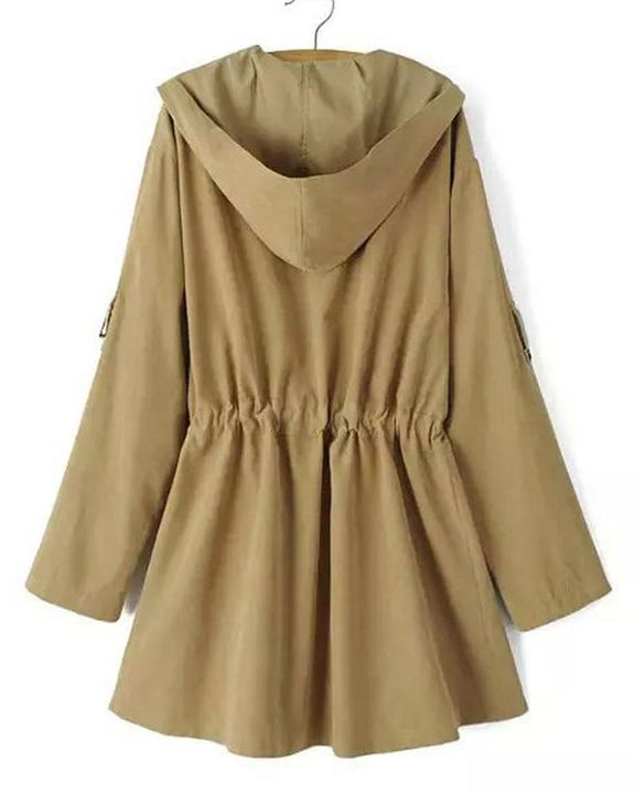Solid Drawstring Waist Dual Pocket Front Hooded Coat gallery 9