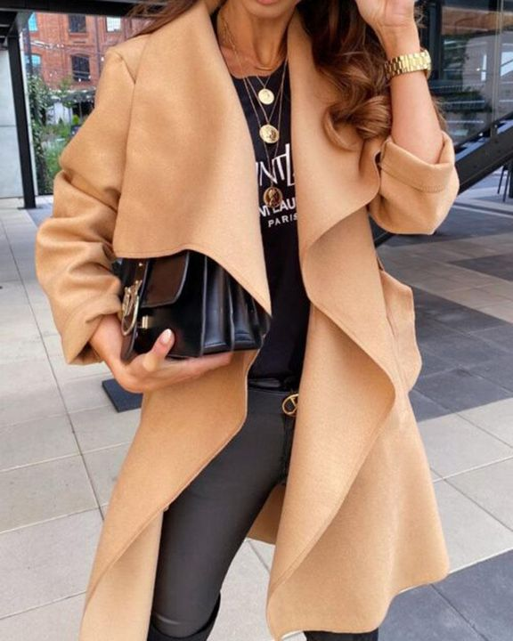 Solid Belted Pocket Detail Waterfall Coat gallery 1
