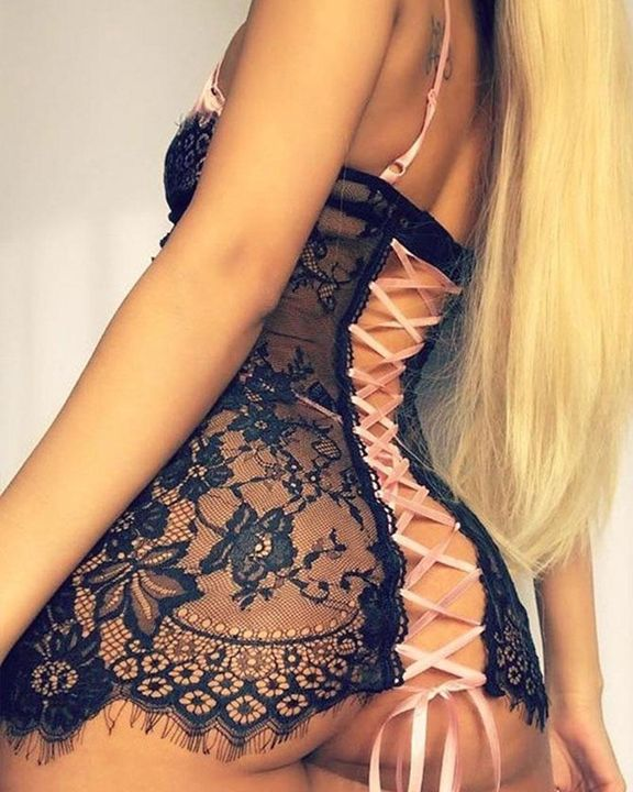 Floral Lace Plaid Print Lace Up Back Nightdress gallery 2