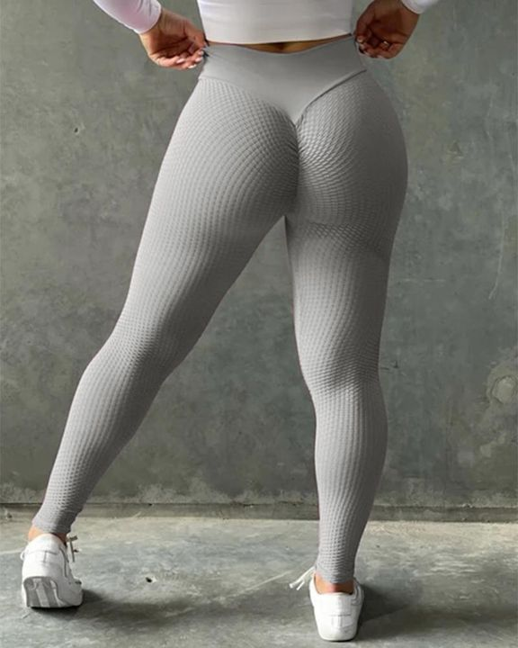 Solid Textured Butt Lifting Sports Leggings gallery 1