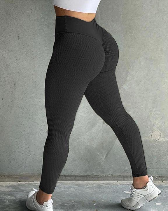 Solid Textured Butt Lifting Sports Leggings gallery 8