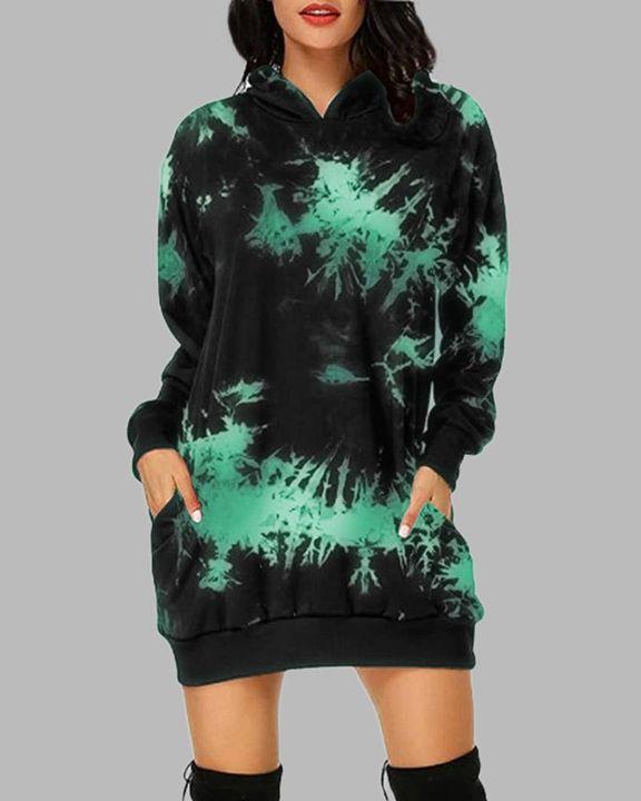 Tie Dye Pocket Detail Hooded Mini Dress gallery 5