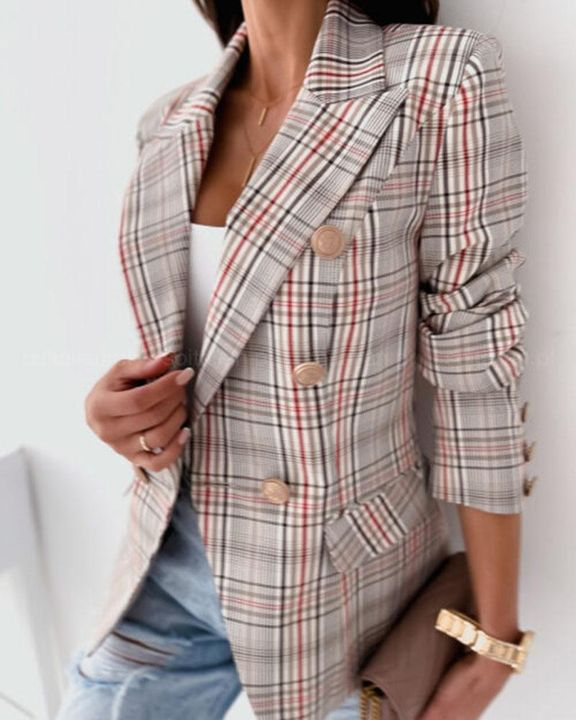 Allover Print Double Breasted Lapel Neck Blazer gallery 6