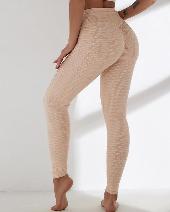 Solid Textured Wide Waistband Sports Leggings gallery 7