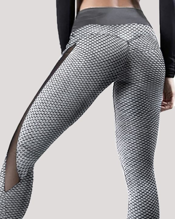 Textured Contrast Mesh Butt Lifting Sports Leggings gallery 2
