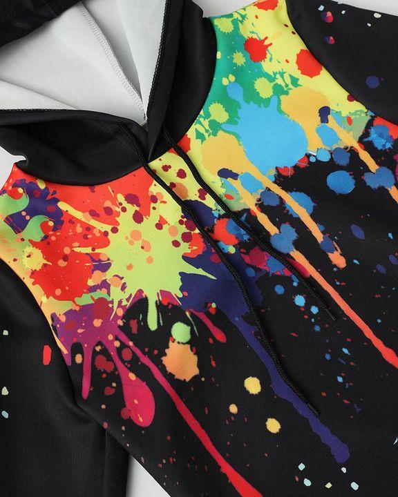 Graffiti Print Drawstring Waist Crop Top & Pants Set gallery 18