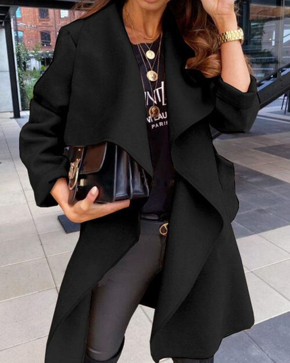 Solid Belted Pocket Detail Waterfall Coat gallery 2