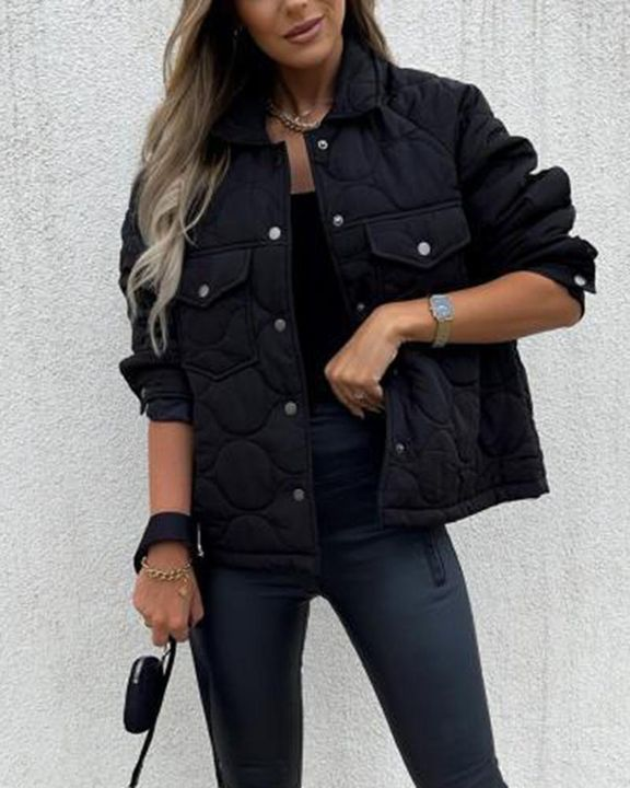 Solid Pocket Detail Button Up Coat gallery 8