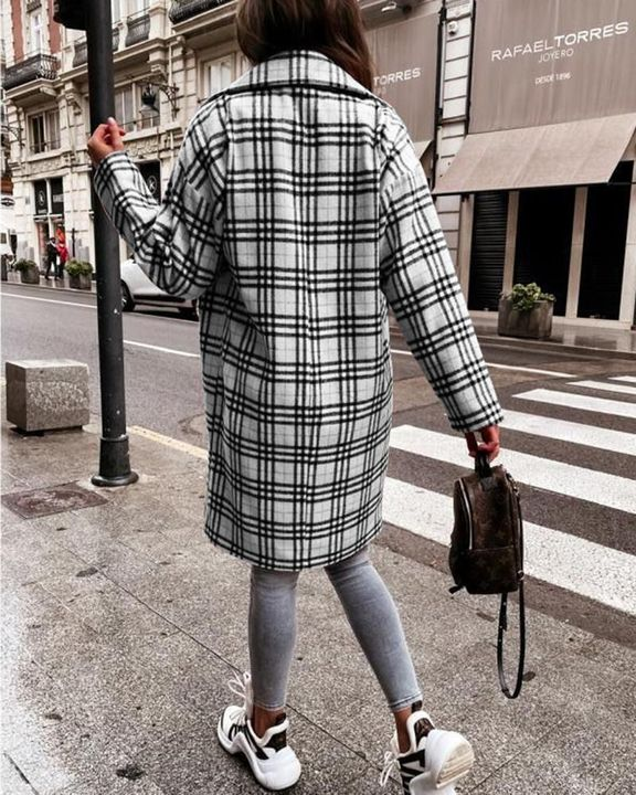 Plaid Print Double Breasted Coat gallery 8