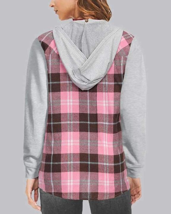 Plaid Patch Pocket Blouse With Removable Hood gallery 2