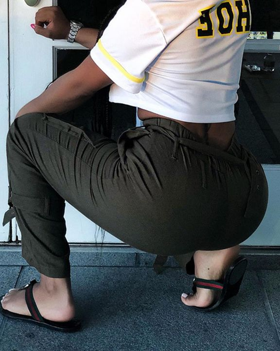 High Waist Belted Pocket Detail Pants gallery 6