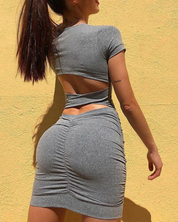 Stretchy Back Cut Out Ruched Mini Dress gallery 2