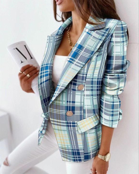 Allover Print Double Breasted Lapel Neck Blazer gallery 1