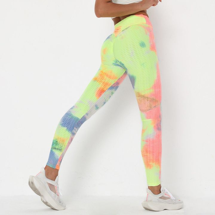 Watercolor Tie Dye Textured Butt Lifting Ruched Leggings gallery 11