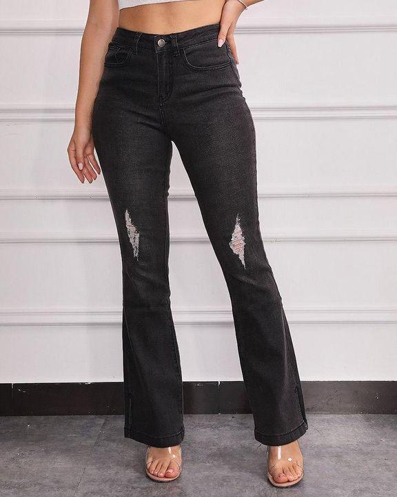Split Hem High Waist Skinny Flare Jeans gallery 1