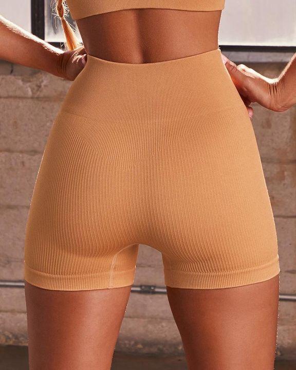 Rib-knit High Waist Butt Lifting Seamless Sports Shorts  gallery 7