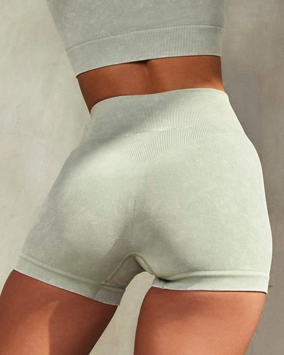 Solid Ribbed Knit High Waist Butt Lifting Sports Shorts  gallery 6