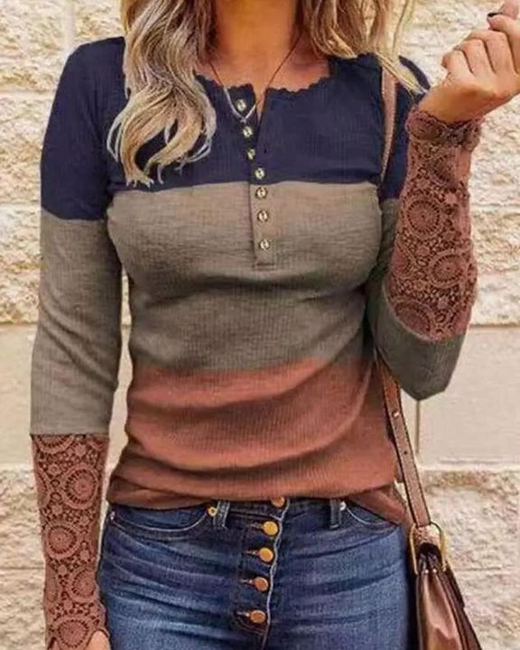 Striped Contrast Lace Button Front Sweater gallery 1