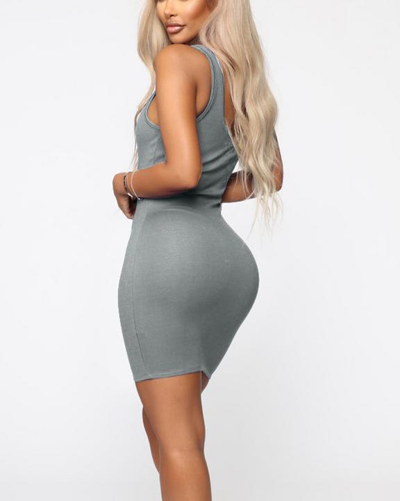 Plain Thick Strap Bodycon Mini Dress gallery 10