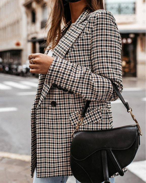 Plaid Print Double Breasted Lapel Neck Blazer gallery 5